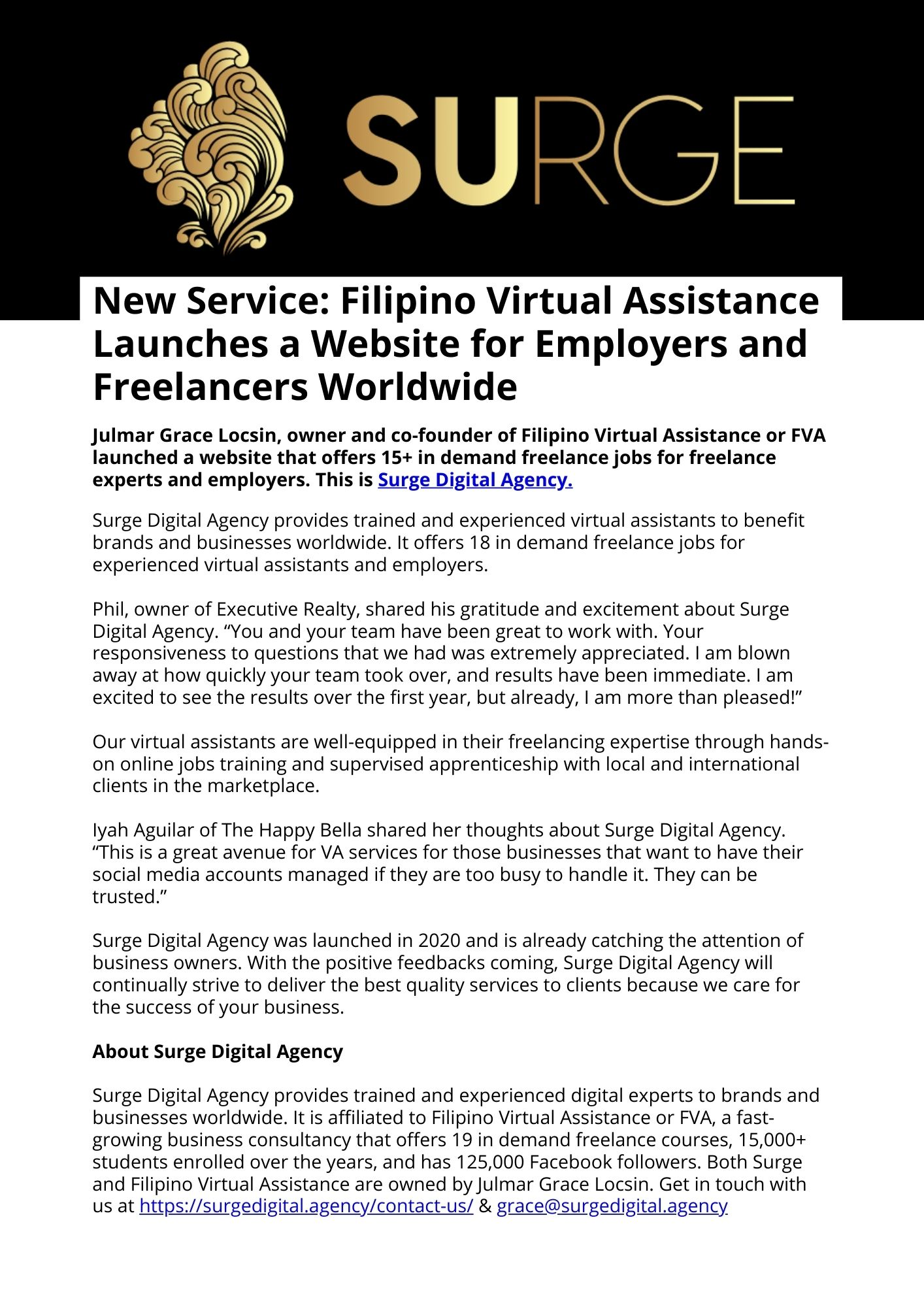 (New Service) Filipino Virtual Assistance Launches a Website for Employers and Freelancers Worldwide