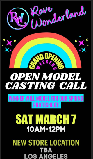 ANNOUNCES OPEN MODEL CASTING AT NEW STORE LOCATION!