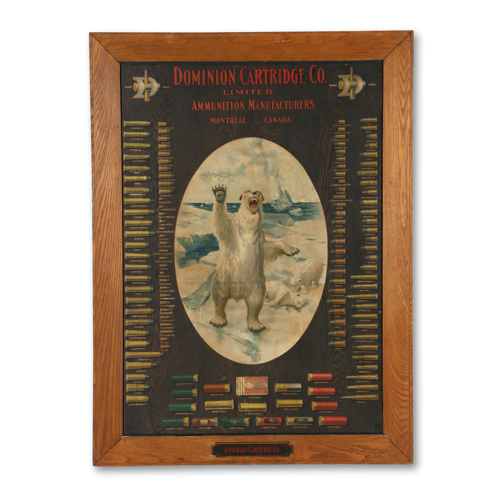 Dominion Cartridge Company Ammunition Board, Produced in Canada in the 1930s, Brings CA$4,500 in Miller & Miller Auction