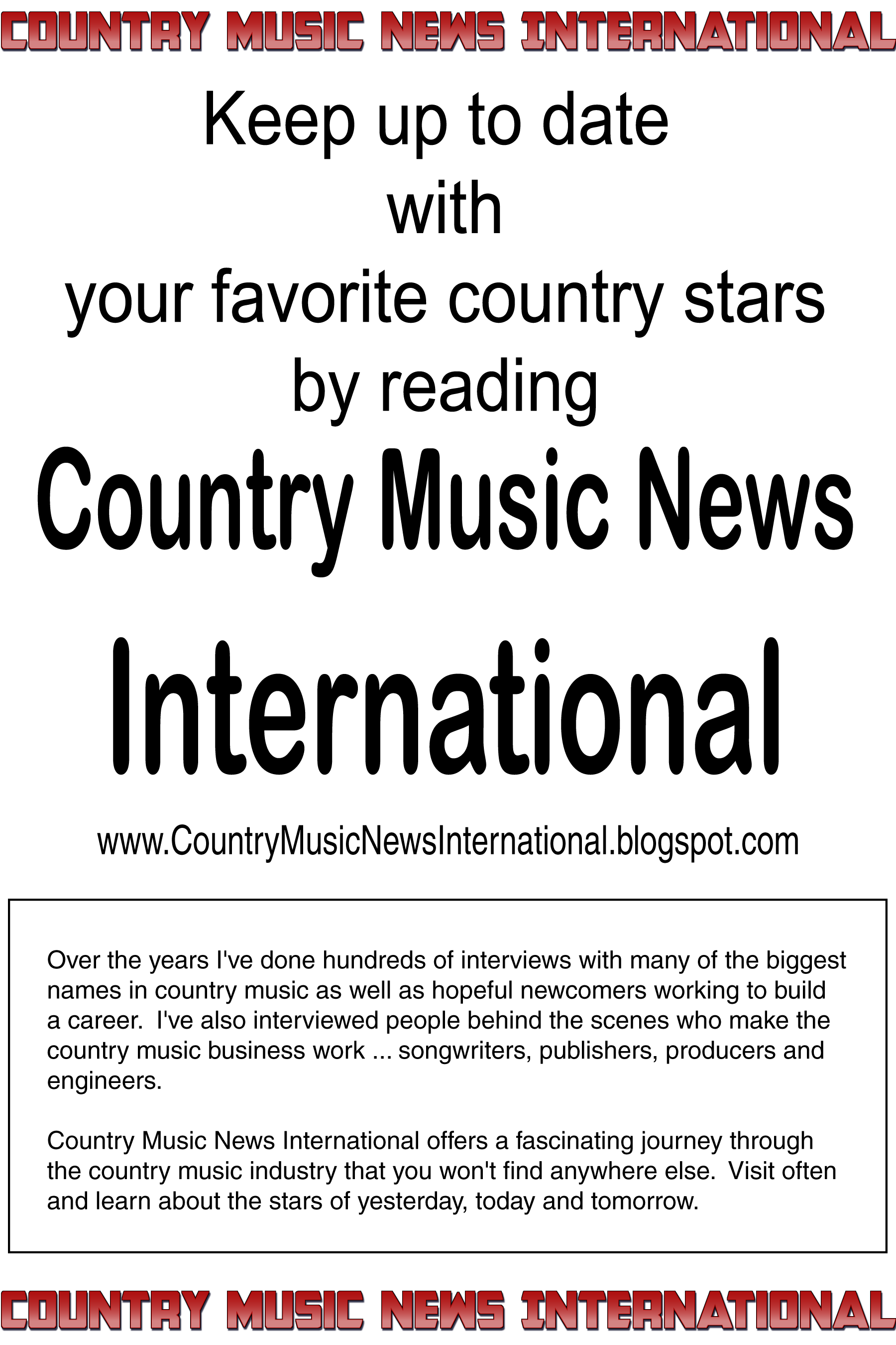 Country Music News International Magazine & Radio Show is supporting Nashville