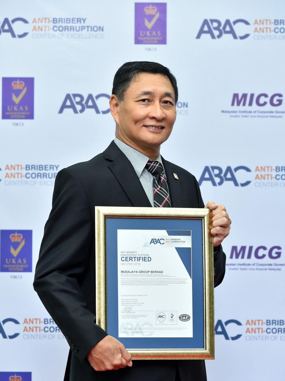 Malaysia's Mudajaya Group certified for ISO 37001 Anti-Bribery Management System by ABAC Center of Excellence