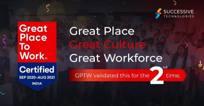 Successive Technologies is a Great Place to Work-Certified ™ Company in 2020