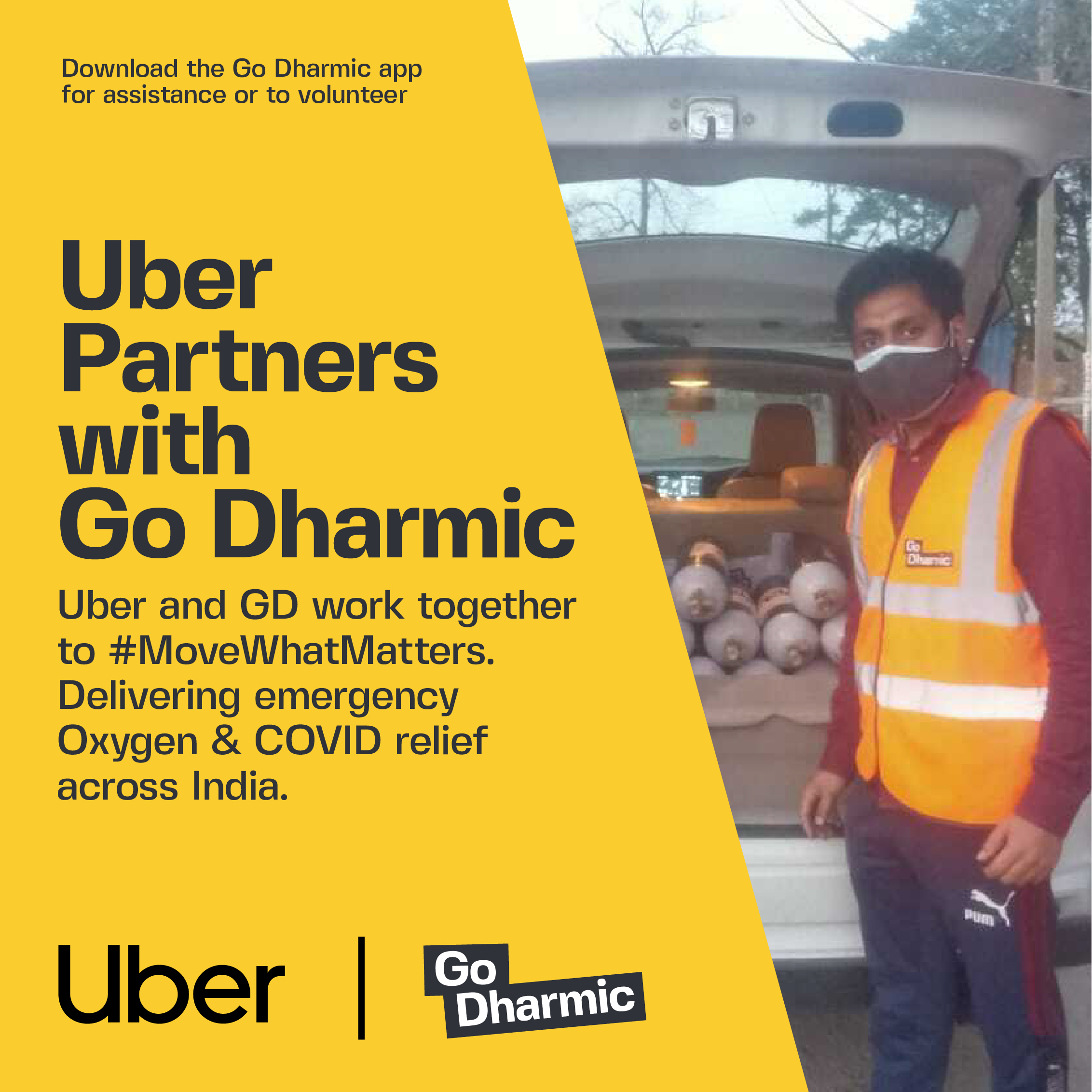 Uber Partners With Go Dharmic to #Movewhatmatters Providing Oxygen Relief Across India in Covid Crisis