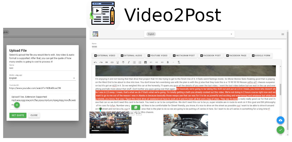 Video2Post! A new app to convert any video or audio resource into a Wordpress post, html, pdf or word document!.