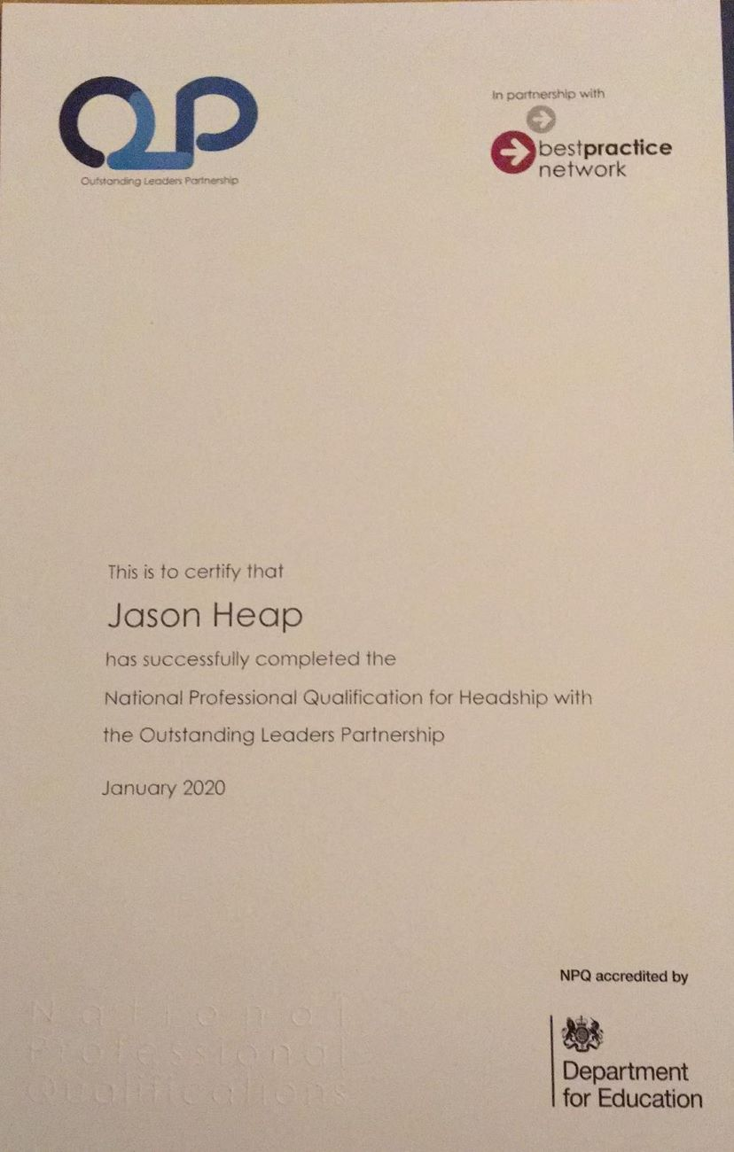 Dr Jason Heap Receives NPQH Qualification