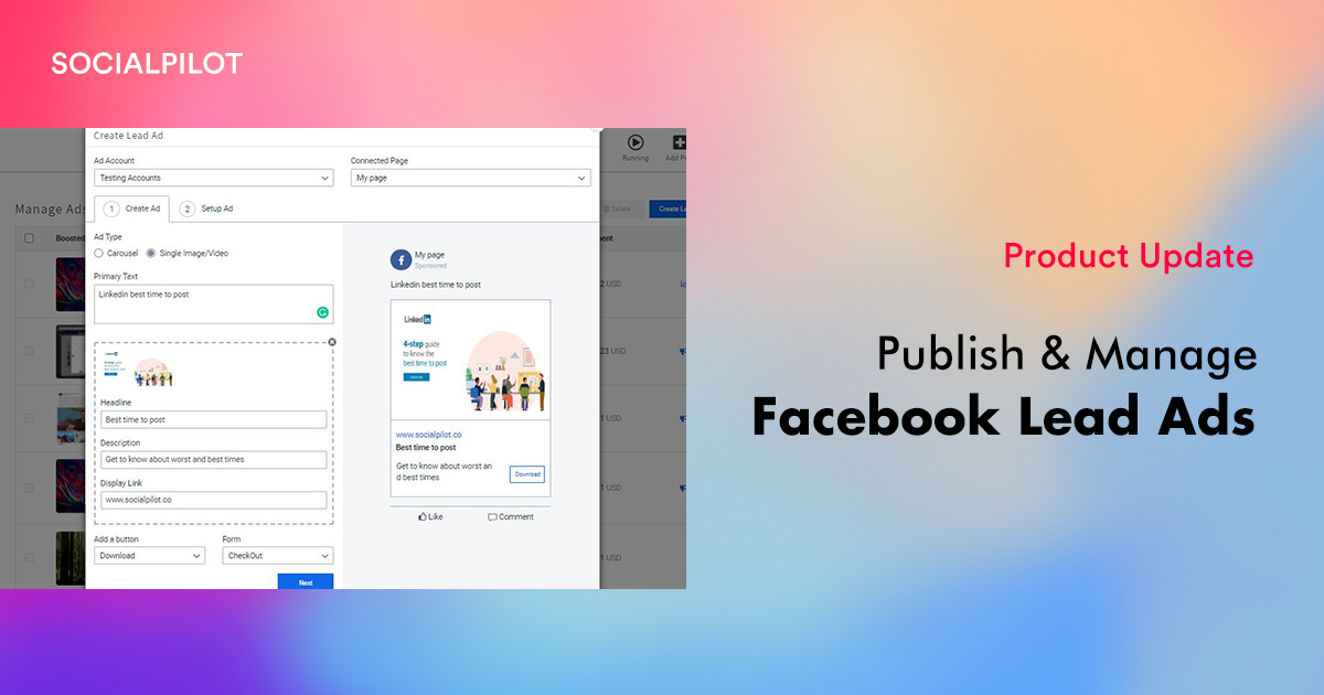 SocialPilot brings Facebook Lead Ad Publishing & Management Capability to its Platform for Social Media Marketers