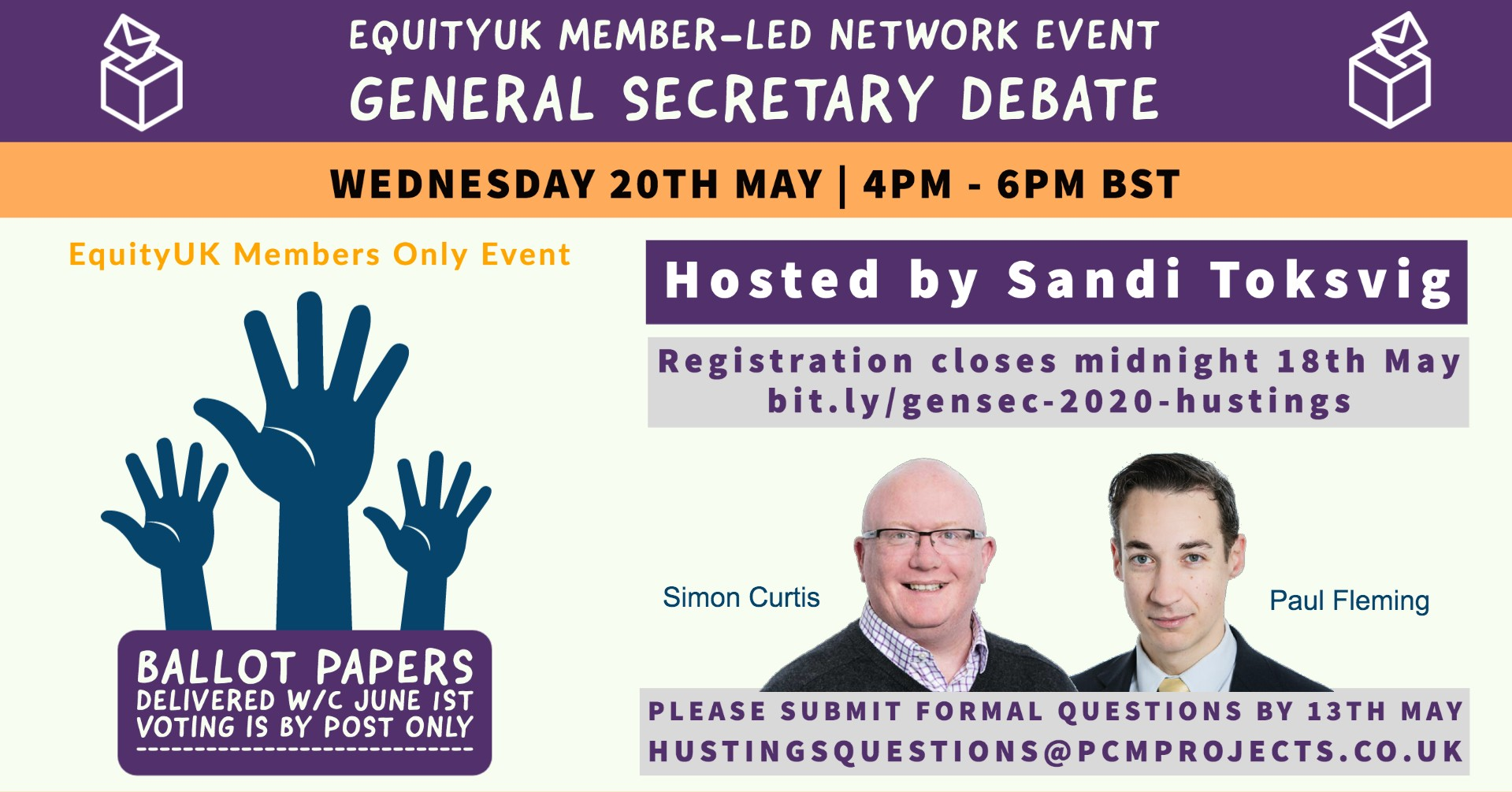 Live digital hustings for the role of Equity General Secretary, chaired by Sandi Toksvig