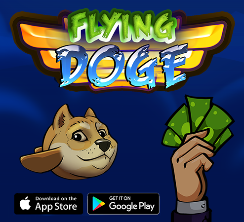Dogecoin inspired app game Flying Doge made for 1000 Doge coins