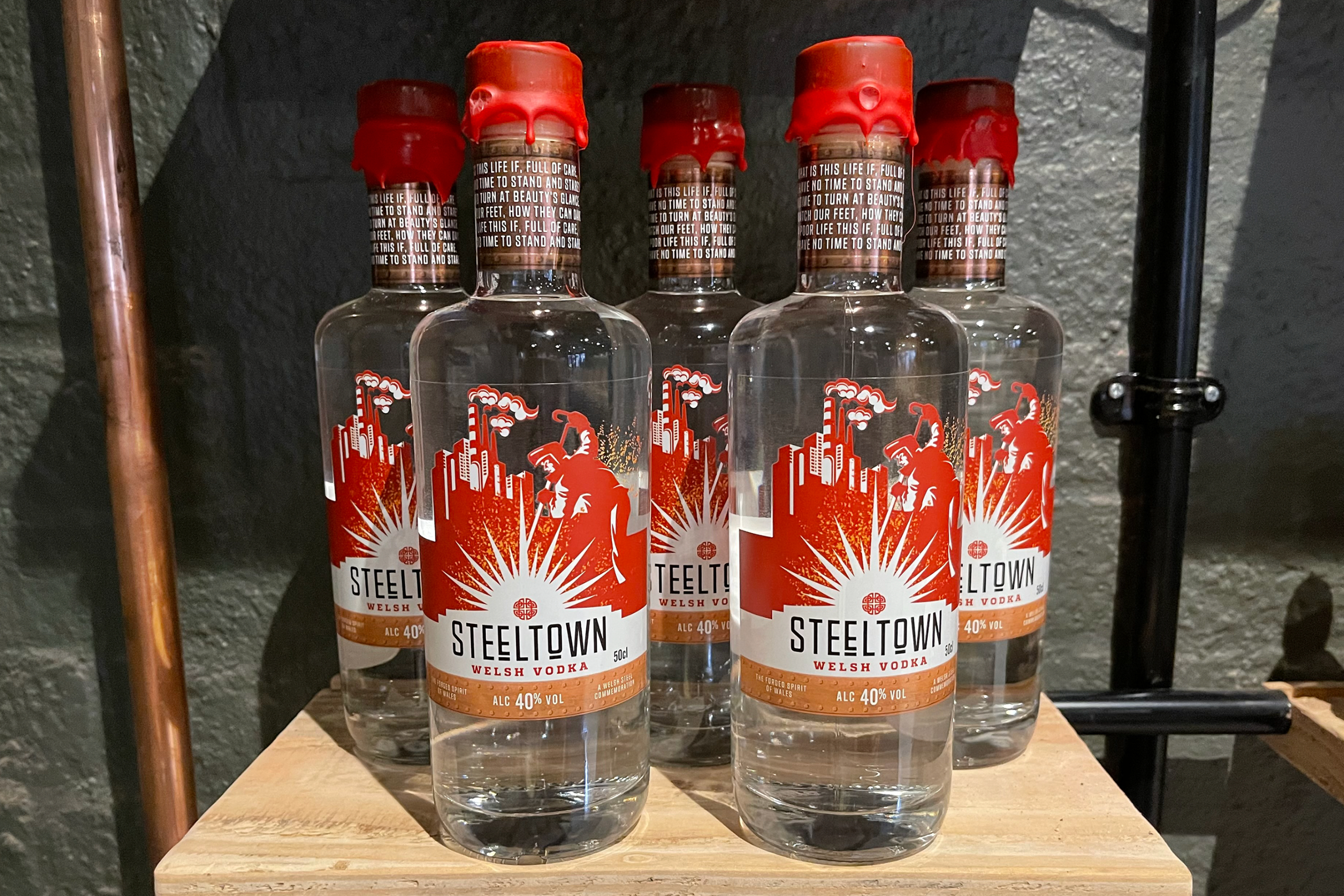 Steeltown Welsh Vodka Filtered Through Anthracite for a Crisp, Clean Flavour from the Spirit of Wales Distillery in Newport, South Wales