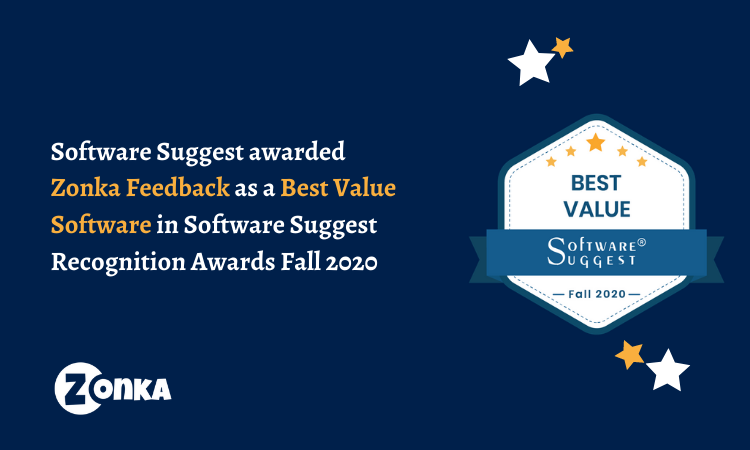Best Value Software awarded to Zonka Feedback by SoftwareSuggest Recognition Awards Fall 2020