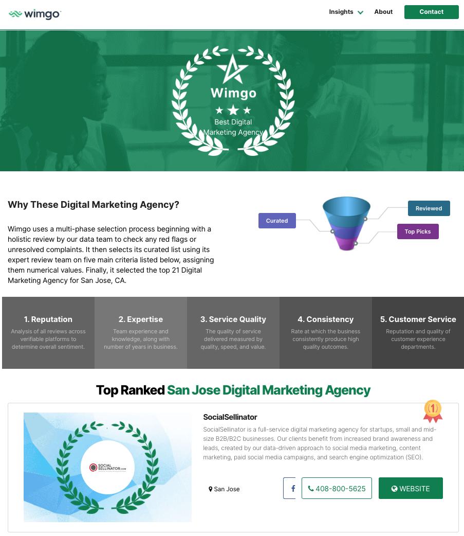 "Wimgo Names SocialSellinator ""Top Ranked San Jose Digital Marketing Agency"""