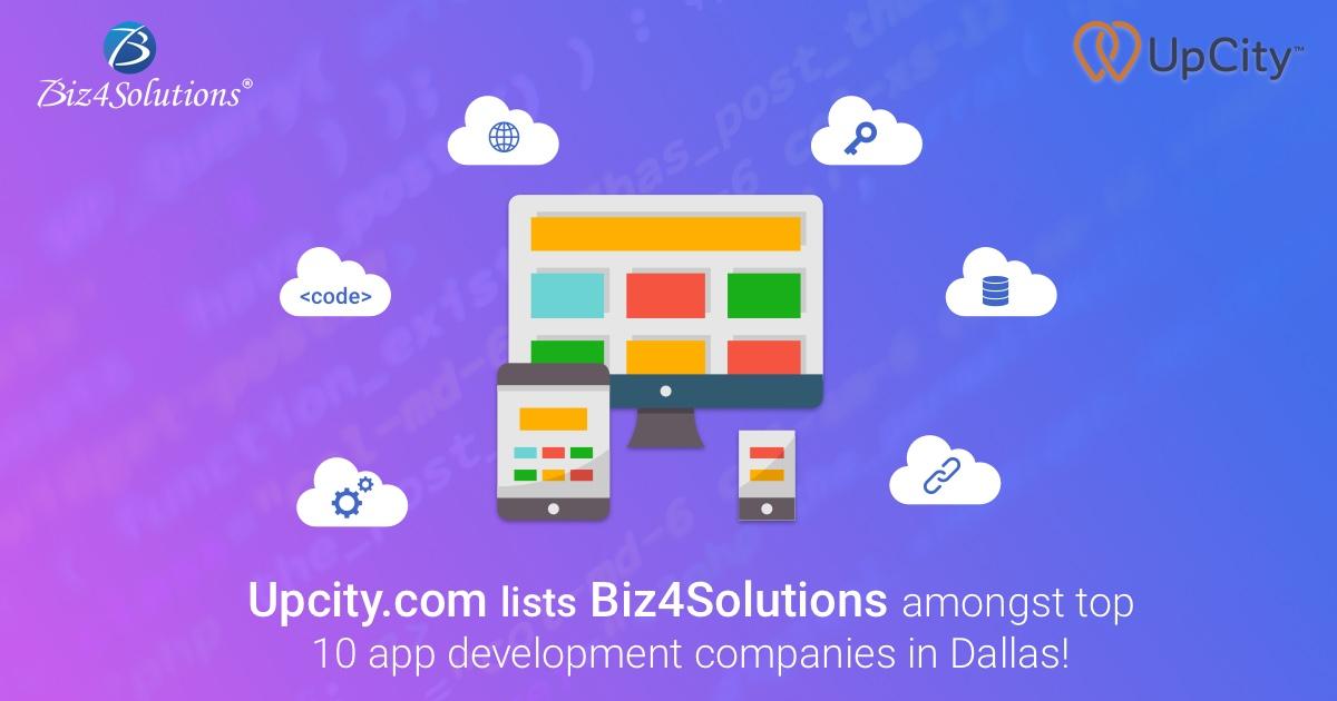 Upcity.com lists Biz4Solutions amongst top 10 app development companies in Dallas!