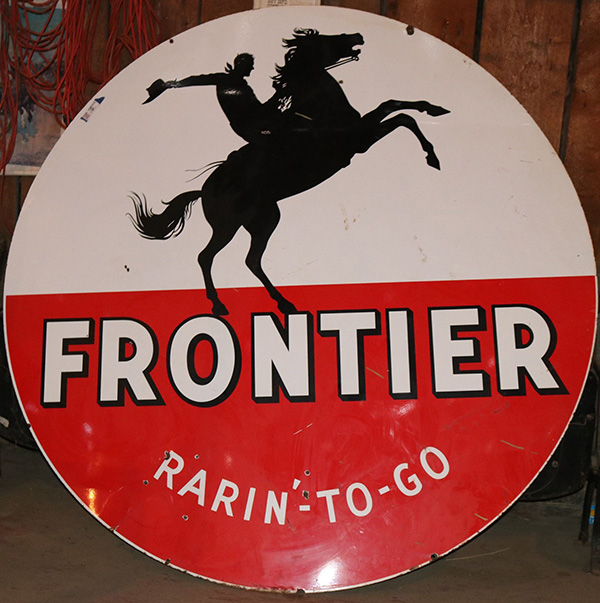 "Frontier Gasoline ""Rarin' to Go"" porcelain gas station sign from the 1950s brings $5,375 at Holabird's seven-day auction"