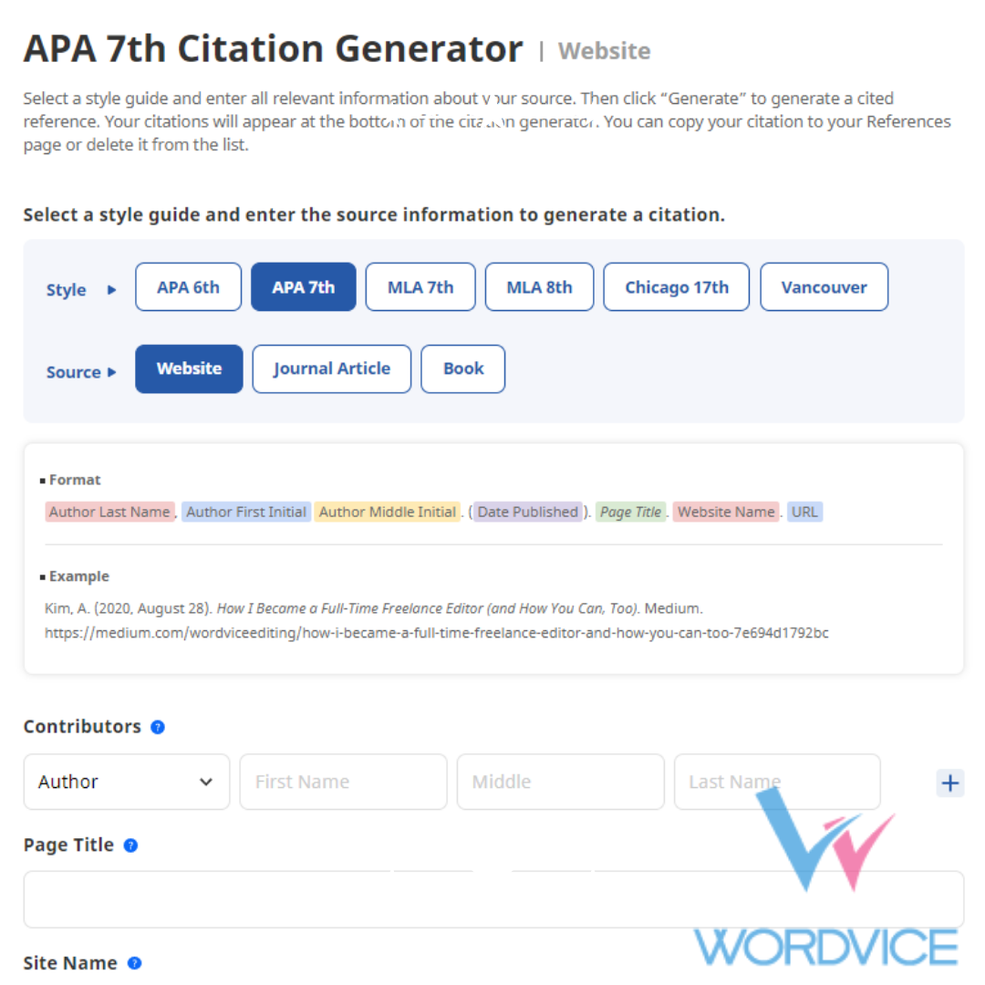 Wordvice Releases Free Citation Generator for Academic Research Authors