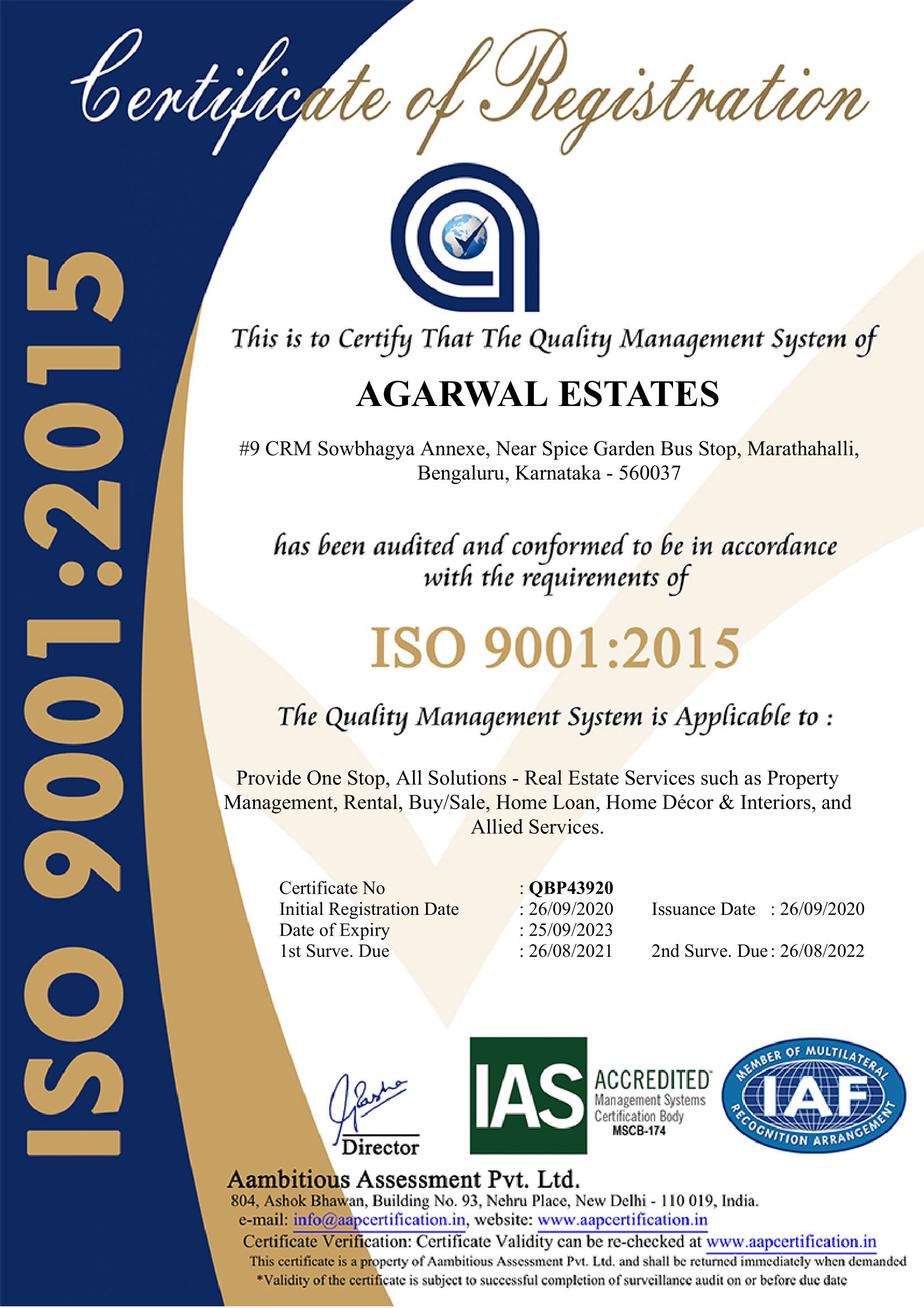 Agarwal Estates is now ISO 9001:2015 certified!