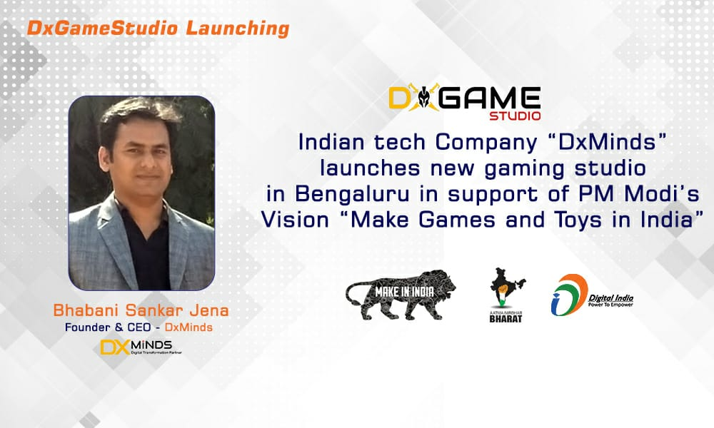 Indian tech Company DxMinds launches new gaming studio in Bengaluru in support of PM Modi's Vision Make Games in India