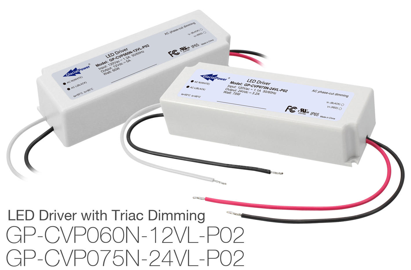 GlacialPower Launches GP-CVP060N-12VL and GP-CVP075N-24VL LED Constant Voltage TRIAC Dimming Drivers for Low Voltage Areas