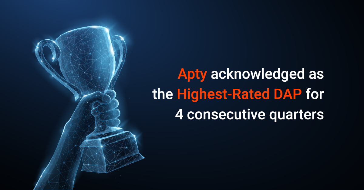 Apty acknowledged as Highest-Rated Digital Adoption Platform for fourth quarter in a row