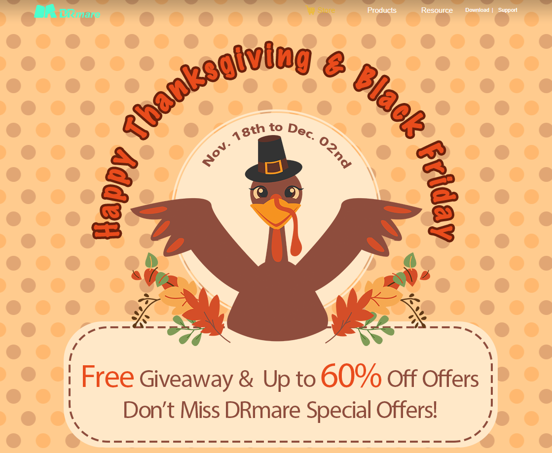 DRmare 2020 Thanksgiving  Black Friday – Free Giveaway  Up to 60% Off Offers