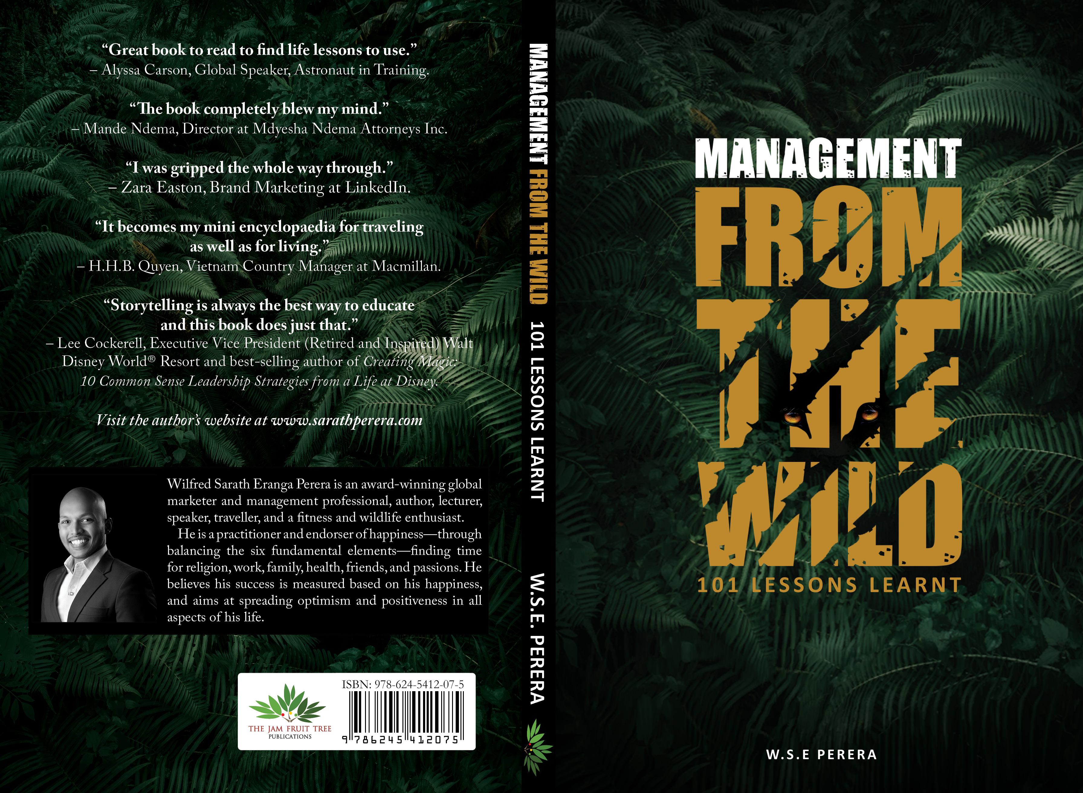 'World's first wildlife travel-based management lessons book' by Wilfred Sarath Eranga Perera.