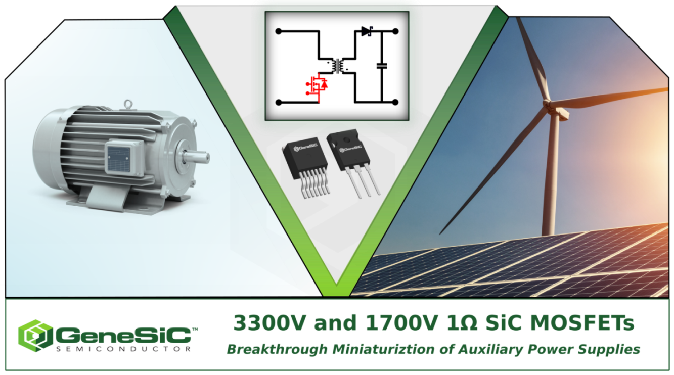 GeneSiC's 3300V and 1700V 1000mΩ SiC MOSFETs Revolutionize the Miniaturization of Auxiliary Power Supplies.