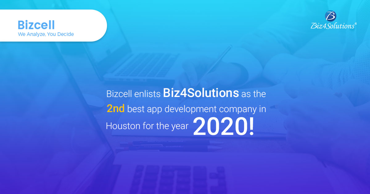 Bizcell enlists Biz4Solutions as the 2nd best app development company in Houston for the year 2020!