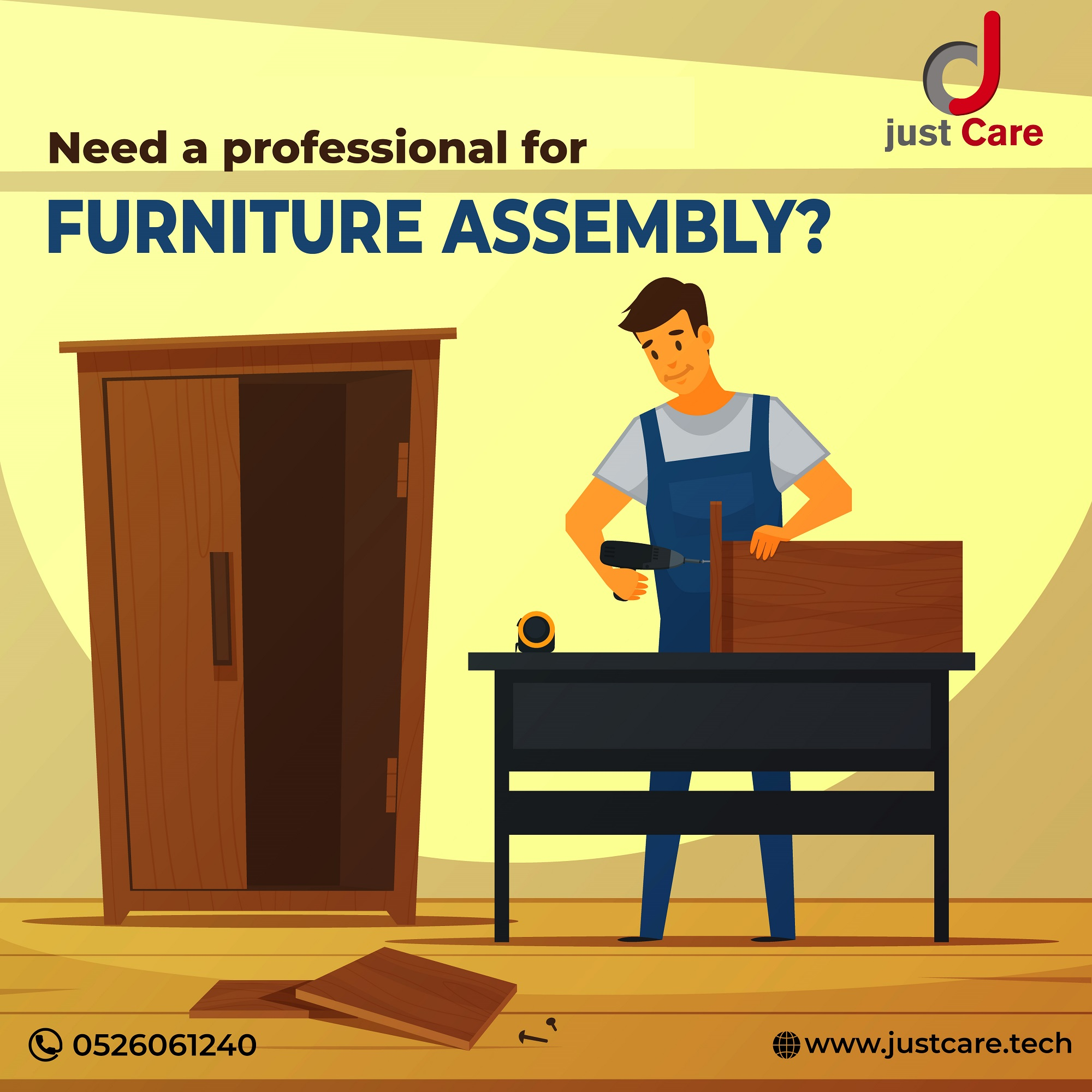 Book Our Furniture Assembly Services in Dubai @Just Care