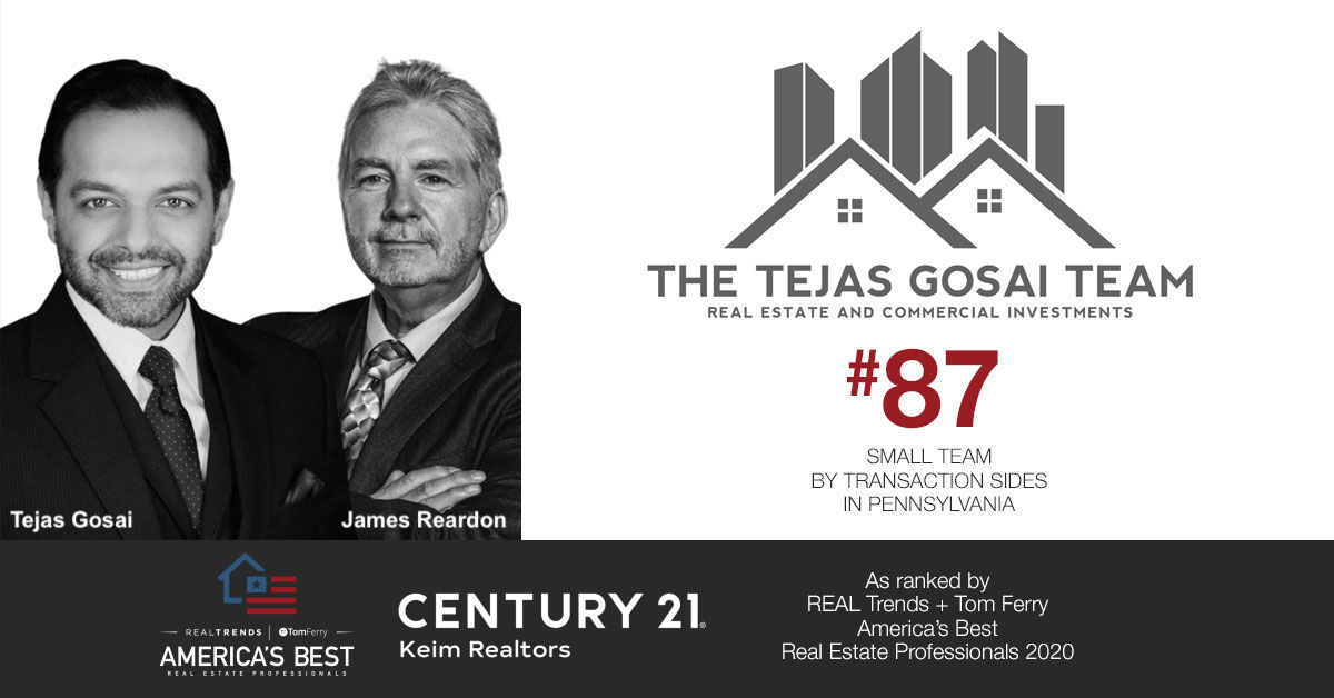 The Tejas Gosai Team was Named to REAL Trends + Tom Ferry America's Best Real Estate Professionals, Ranking in the Top 100 Teams in the United States.