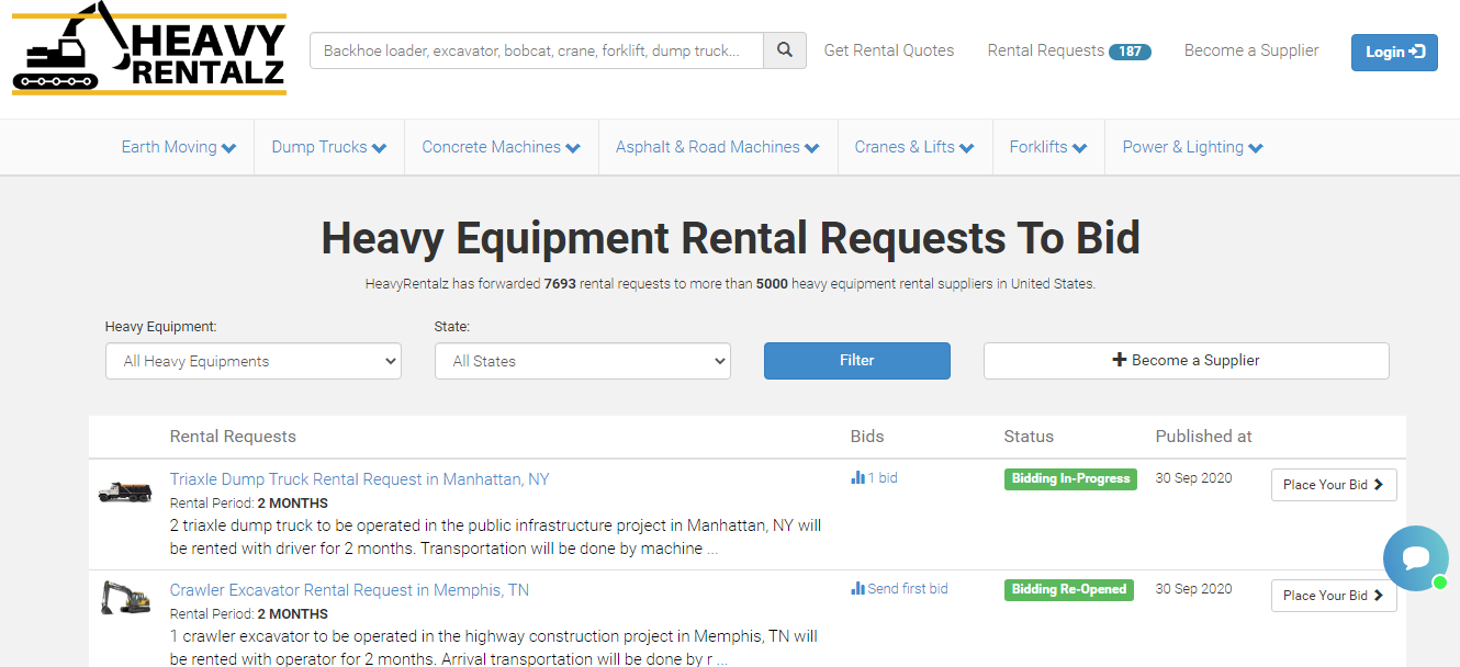 HeavyRentalz Launches Heavy Equipment Rental Marketplace in U.S.